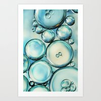 Sky Blue Bubble Abstract Art Print