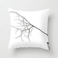 Barely Branches Mono Throw Pillow