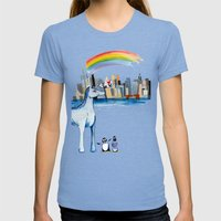 Unicorn Penguin Love NYC Womens Fitted Tee Tri-Blue SMALL