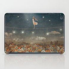 Illustration of  cute houses and  pretty girl   in night sky iPad Case
