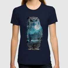 OWL / MOON BALLOON Womens Fitted Tee Navy SMALL