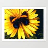 Art Print featuring Butterfly on yellow by Viggart
