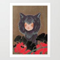 Fox Spirit Kitsune In Gi… Art Print