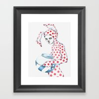 Red Dotted Bunny Framed Art Print