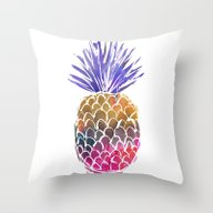 Throw Pillow featuring GoodVibes Pineapple by Schatzi Brown