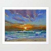 Malibu Beach Sunset Art Print