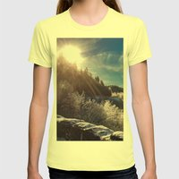 Snowy Smoky Womens Fitted Tee Lemon SMALL