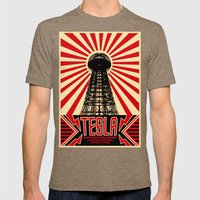 Tesla Mens Fitted Tee Tri-Coffee SMALL