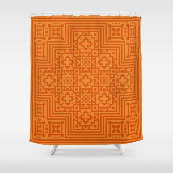 Orange Pattern Shower Curtain by White Wolf Wizard | Society6
