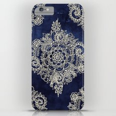 Cream Floral Moroccan Pattern on Deep Indigo Ink iPhone 6s Plus Slim Case