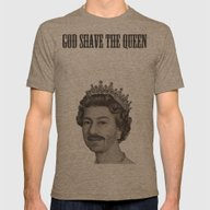 God Shave The Queen Mens Fitted Tee Tri-Coffee SMALL