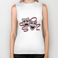 Comedy And Tragedy Theater Masks Biker Tank
