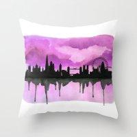 Aubergine London Skyline 2 Throw Pillow