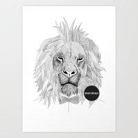 Asleep Lion Art Print