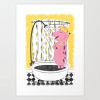 Piggy Shower Art Print