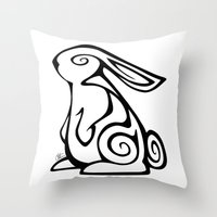 Rabbit Swirls Throw Pillow