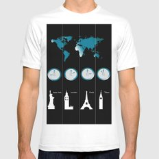 TIME ZONES. NEW YORK, LONDON, PARIS, TOKYO SMALL Mens Fitted Tee White