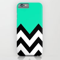 iPhone & iPod Case featuring TEAL COLORBLOCK CHEVRON by natalie sales