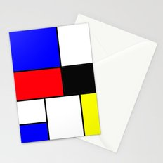 Red Blue Yellow squares design Stationery Cards