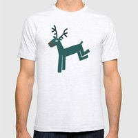 Reindeer-Teal Mens Fitted Tee Ash Grey SMALL