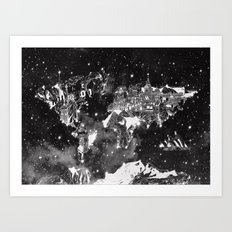World Map Galaxy Black A… Art Print
