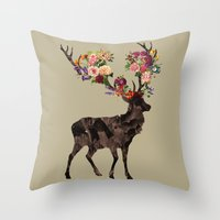Spring Itself Deer Flower Floral Tshirt Floral Print Gift Throw Pillow