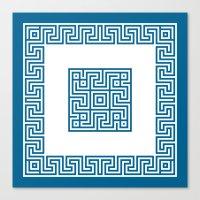 Greek Key Blue Canvas Print