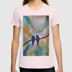 Valentines Love Birds Womens Fitted Tee Light Pink SMALL