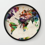 World Map Urban Watercol… Wall Clock