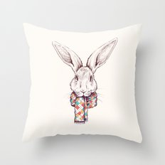 Bunny and scarf Throw Pillow