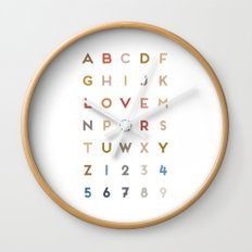 Letter Love - Color Wall Clock