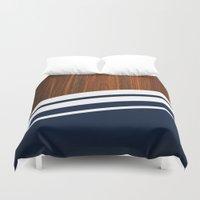 Wooden Navy Duvet Cover
