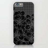 Cherry Blossom Grid Black iPhone 6 Slim Case