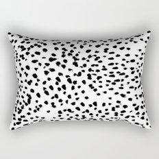 Nadia - Black and White, Animal Print, Dalmatian Spot, Spots, Dots, BW Rectangular Pillow