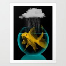 A tight spot in the rain Art Print