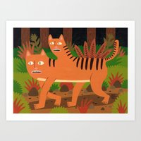 Two-headed Cat Art Print