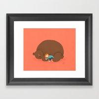 Bear and girl: sleeping Framed Art Print