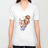 V-neck T-shirt featuring Smiling Red Fox in Blue Socks by Goosi