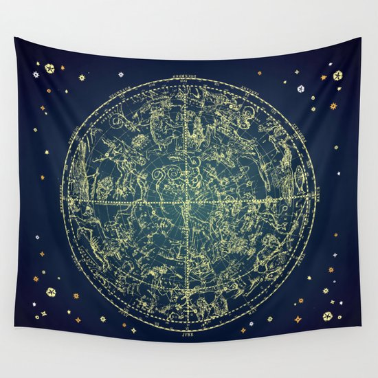 Zodiac Star Map Wall Tapestry by PaperBoundLove | Society6