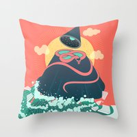 Snake On Crystal Mountain Throw Pillow
