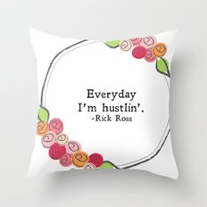 Floral - Hustlin' Throw Pillow