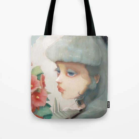 Pensees et roses tremieres Tote Bag