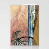 The Waves At Sunset Stationery Cards