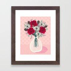 Peony Vase of flowers mother's day art print greeting card Andrea Lauren illustration Framed Art Print