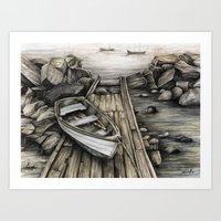 Old Boat On The Dock Art Print