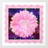 Pink Flower With Sparkle… Art Print