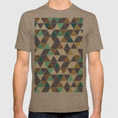 Modern Gray White Teal and Faux Gold Triangles Mens Fitted Tee Tri-Coffee SMALL