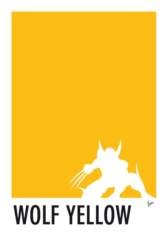 My Superhero 05 Wolf Yellow Minimal poster Art Print