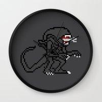 Alien Pixels Wall Clock