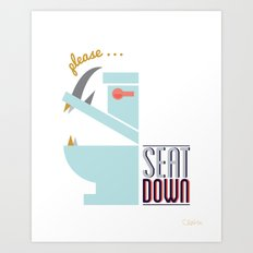 Rhino Says Seat Down! Art Print